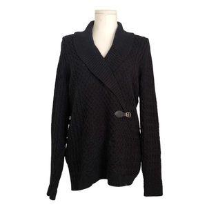 Calvin Klein Black Cable Knit Faux Wrap Sweater Bu
